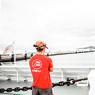 Crew member FRS Iberia from behind.